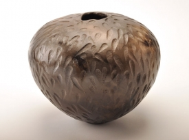 Large coil-built pot burnished and smoke fired